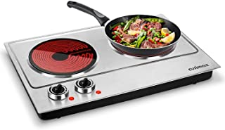Cusimax Hot Plate 1800W Electric Double Burner Ceramic Infrared Countertop Cooktop Glass Heating Plate Electric Stove with Adjustable Temperature, Non-Slip Rubber Feet, Stainless Steel, Easy To Clean, Upgraded Version