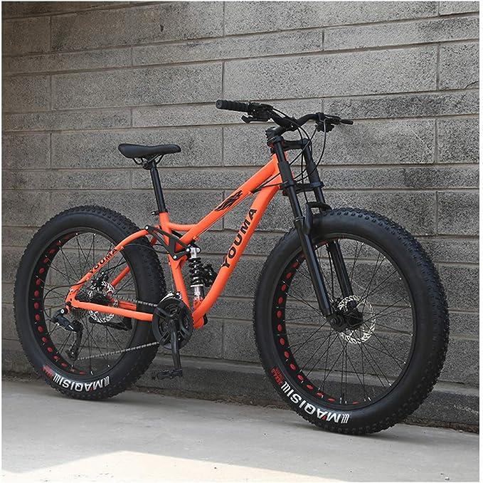 Nawenjuyu 26 inches Mountain Bike Dual Disc Brakes Full Suspension Non-Slip 21-Speed Black 26 Inch Wheels//17 Inch Frame