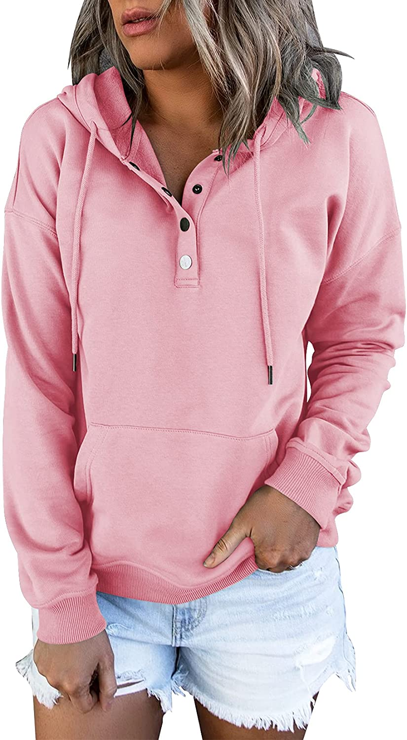 Vivitulip Women's Pullover Hoodies Tops Casual Button Down Long Sleeve Sweatshirts With Pocket