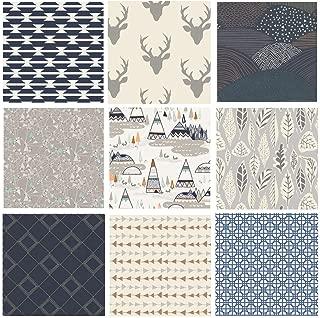 Hello Bear Quilting Bundle | Native American Fabrics | Navy Gray Nursery Fabrics | Indian Summer | Southwestern Quilt Bundle | 9 Fabrics | Art Gallery Fabrics (Fat Quarters)