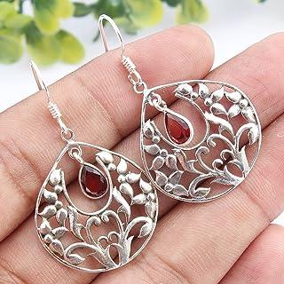 Kanika Jewelry Trove Garnet Gemstone 925 Sterling Silver Earrings for Womens