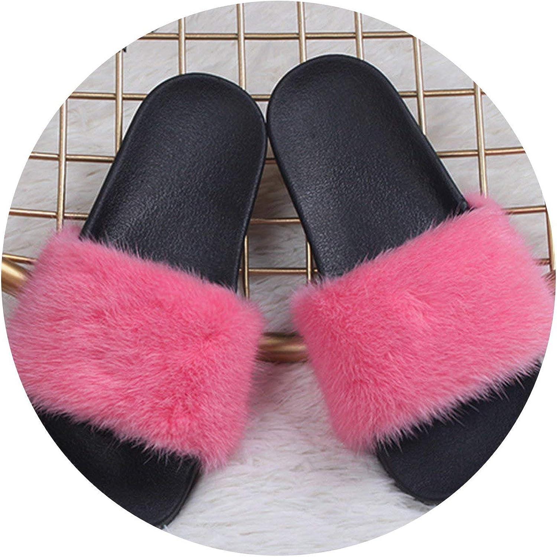 Luxury Mink Fur Slippers kvinnor Fur Slits Rubber Flat Non Non Non - Slip Casual Home utomhus Sandals  första gången svara