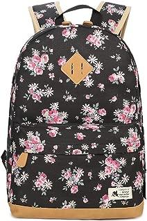 JUNDA Small Daisy Print Canvas School Laptop Bag Daypack Teens Backpack for Girls Womens(Black)