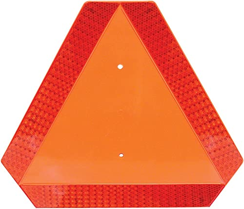 """Deflecto Slow Moving Vehicle Sign with Reflective Tape, Safety Triangle, Orange, Highly Visible, Plastic, 16"""" W x 14""""..."""