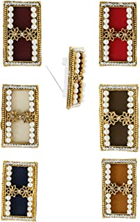 Anuradha Art Gold Finish Styled With Square Shape Studded Beads Traditional Saree Pin For Women