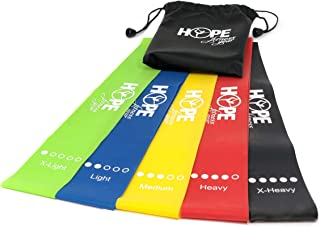 Hope Fitness Gear, Resistance Bands, Exercise Bands, Booty Bands, Loop Resistance Bands, Set of 5 with Carry bag and EBook Exercise Guide