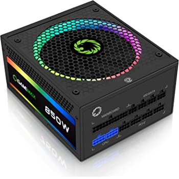 GameMax Power Supply 850W Fully Modular 80+ Gold Certified with Addressable RGB Light - Vairous Color Mode, RGB-850-Rainbow
