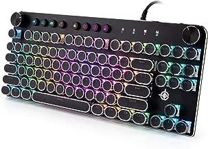 Mechanical Gaming Keyboard,GEEKLIN Backlit 87 Key Mechanical Computer Keyboard with USB,Wired Keyboard for Windows PC Gamers - Black