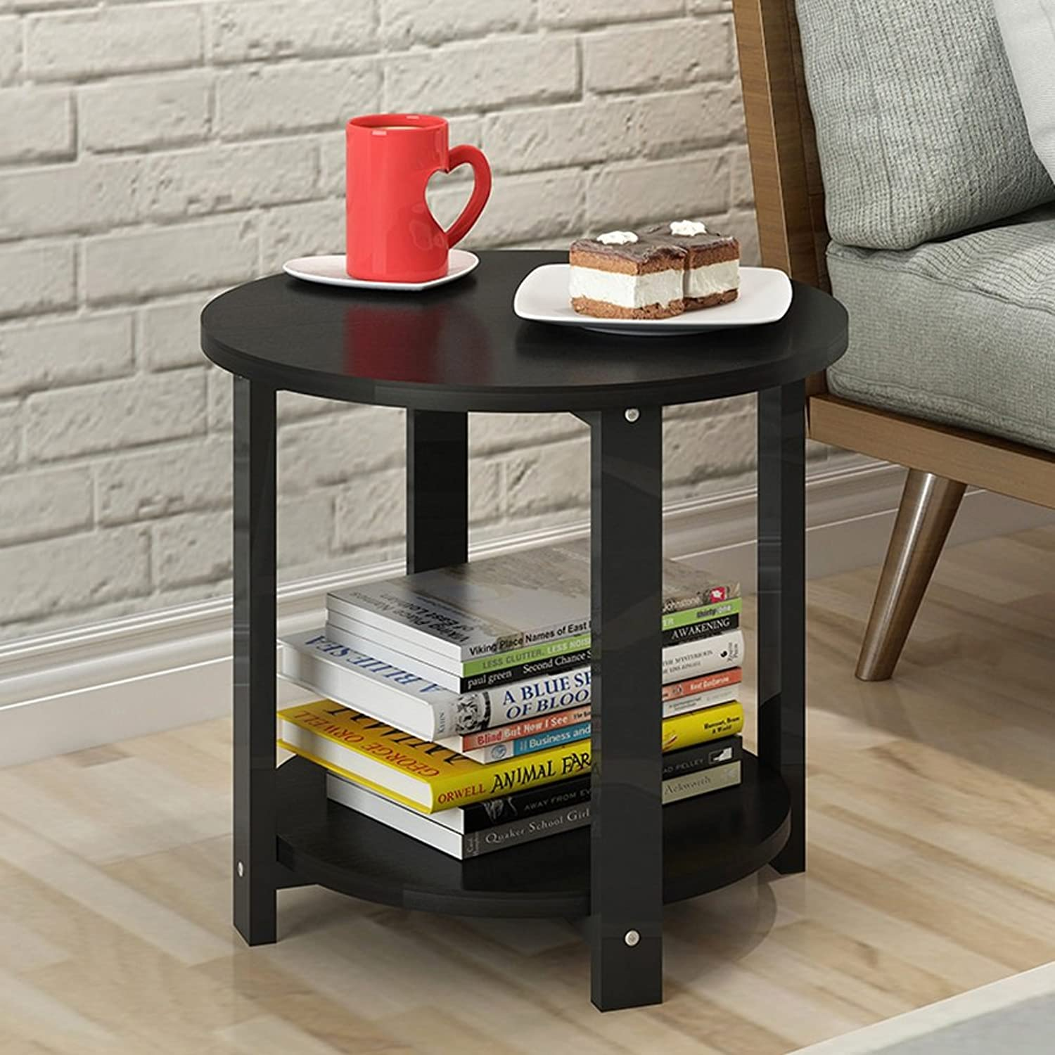 Log Small Round Table Small Coffee Table Casual Side Table Sofa Balcony Sides (color   B, Size   39  38CM)