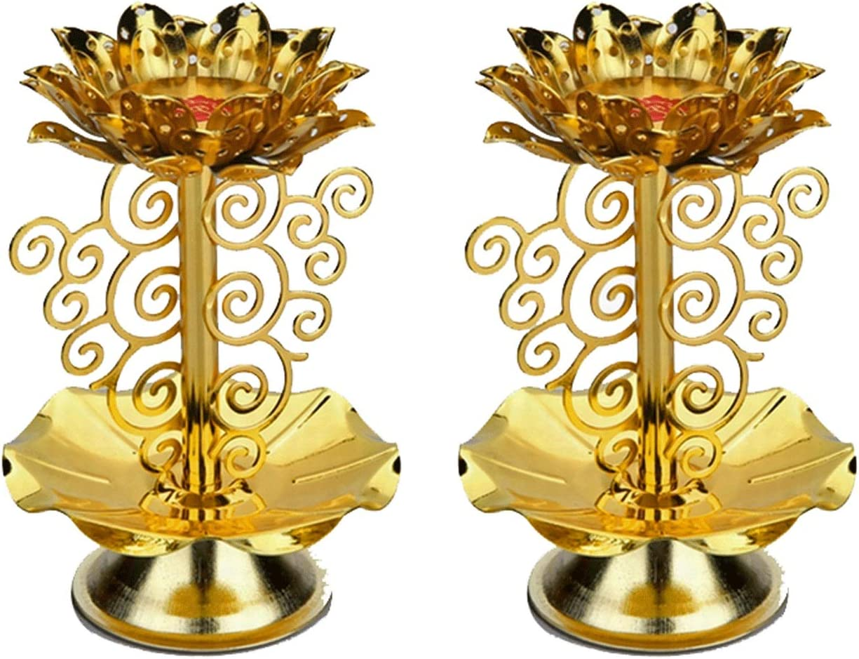 WENMENG2021 Taper Candle Holder Set Max 72% OFF Lotus Golden Fashionable Holders