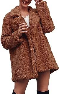 Shusuen Women's Fuzzy Fleece Lapel Open Front Long Cardigan Coat Faux Fur Warm Winter Outwear Jackets