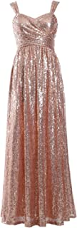 Women Sleeveless Formal Party Evening Gown Sequin Long Bridesmaid Dress