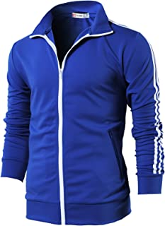 H2H Mens Active Slim Fit Track Jacket Zip-up Long Sleeve Training Basic Designed