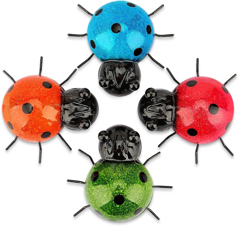 Garden Decor for Outside, Outdoor Wall Decor, Yard Decor, Garden Statues, Set of 4 Metal Cute Ladybugs
