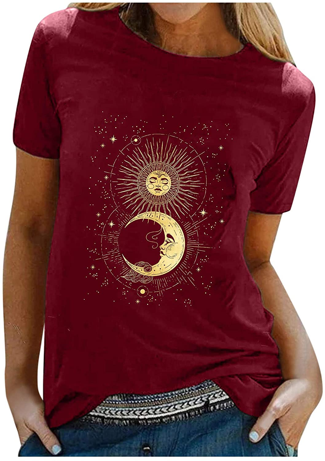 Graphic Tshirts for Women Vintage Sun and Moon Star Print Blouse O-Neck Short Sleeve Tops Comfy Light Tunics