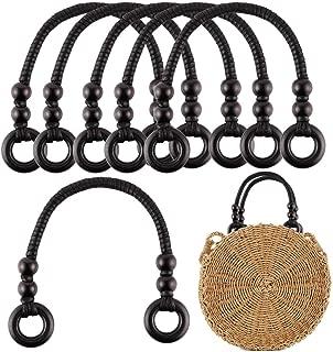 6Pcs Wood Beaded Rope Handles Replacement Bag Strap Handle for Handmade Beach Bag Handbags Straw Bag Purse Handles