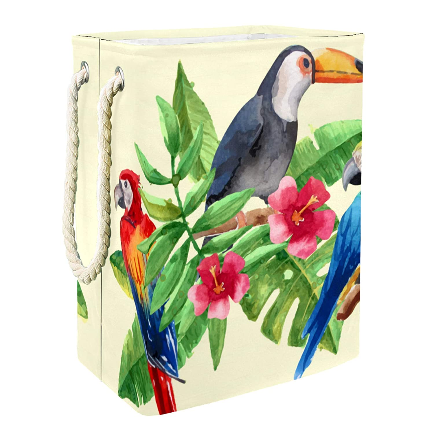 Storage Basket Tropical Max 43% OFF Parrot Toucan Palm Leaves Bin Ches Max 53% OFF Birds