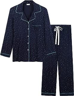 Womens Soft Bamboo Pajama Sets Button Down Long Sleeve Pj Pants Set Sleepwear