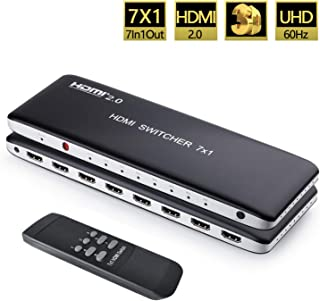Univivi 7 Port HDMI 2.0 Switch 4K@60Hz HDMI Switcher Support HDR & HDCP 2.2,Full HD/3D with IR Wireless Remote Control and Power Adapter