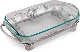 Arthur Court Metal Pyrex Glass Casserole Dish Holder Fleur-De-Lis Pattern Sand Casted in Aluminum with Artisan Quality Han...