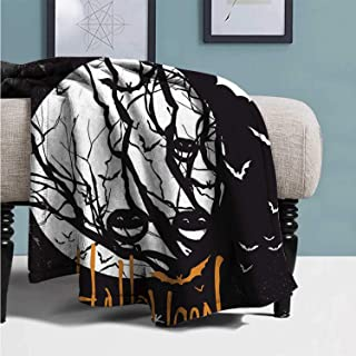YOLIYANA Vintage Halloween Practical Blanket,Halloween Themed Image with Full Moon and Jack o Lanterns on a Tree Decorative for Hotel,39''Lx49''W