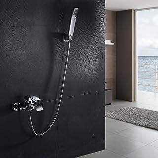 kinse Cuadro–Batería monomando para bañera con cascada grifo, grifo mezclador monomando bañera con barra ducha, montaje en pared, cromado