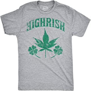 Mens Highrish Tshirt Funny Irish Pride 420 Lucky Clover Tee for Guys