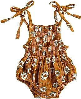 طفل الفتيات قميص قصير رومبير رضيع بنت زهرة الأقحوان القطن والكتان حللا قابل للتعديل كتف حزام (Color : Brown, Kid Size : 12M)