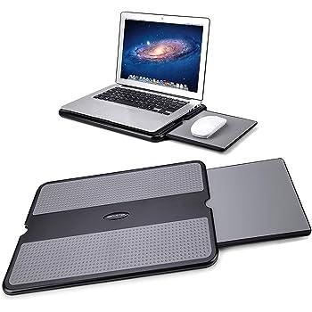 AboveTEK ノートパソコン 台 膝上テーブル 7/15インチ対応 収納式マウスパッド 携帯用ひざ上PCスタンド 冷却台 ,すべり止めヒートシールドタブレット・ノートパソコン用