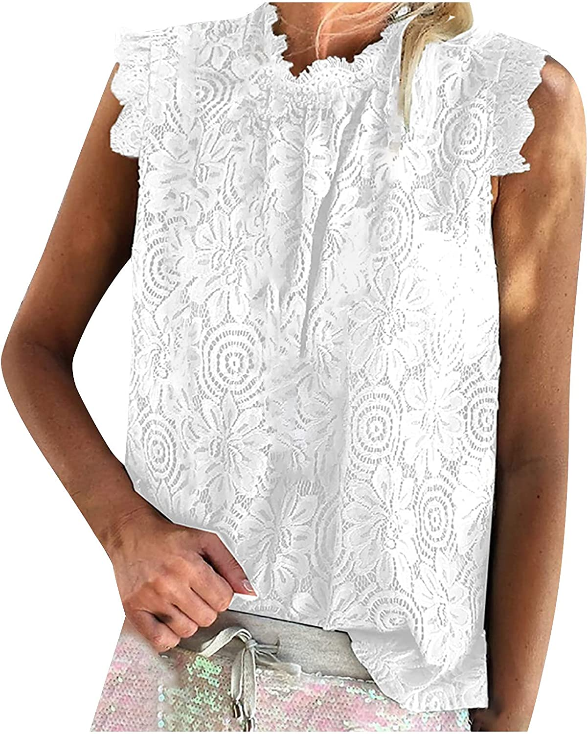Plus Size T Shirts for Womens Summer, Fashion Women's Solid Casual Lace Hollow Out Sleeveless Sexy Vest Blouse