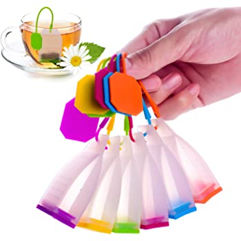 ME.FAN Silicone Reusable Tea Bag Candy Silicone Tea Infuser Strainer Set - Genuine Premium Loose Leaf Infuser Set In Bright Colors (6 Set) - Best Gift in Home Or Offices
