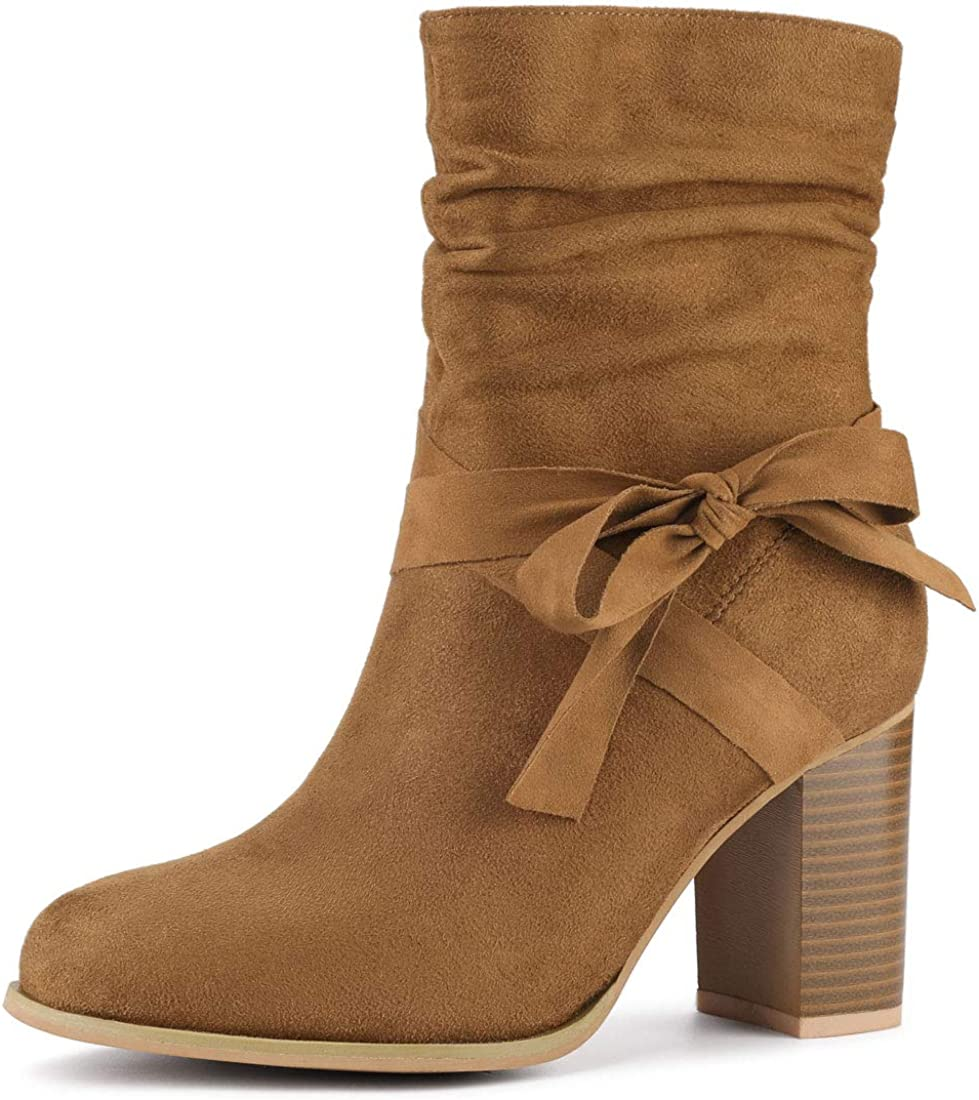 Allegra K Women's Slouchy 2021 model Max 87% OFF Heel Ankle Chunky Boots