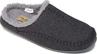 Slipperooz Deer Stags Men's Nordic Plus S.U.P.R.O Sock and Memory Foam Cushioned Indoor Outdoor Clog Slipper Black