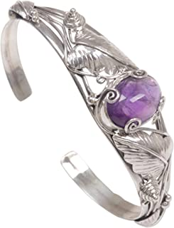 Amethyst .925 Sterling Silver Cuff Bracelet 'Lost In Nature'