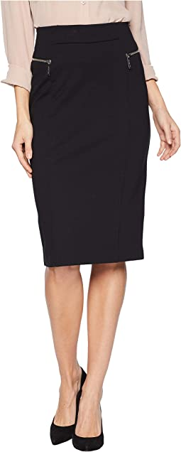 Zip Ponte Long Pencil Skirt