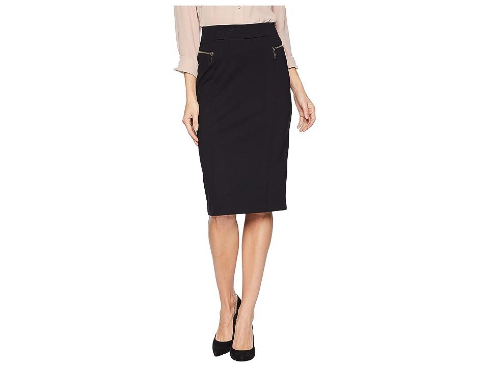 MICHAEL Michael Kors Zip Ponte Long Pencil Skirt (Black) Women