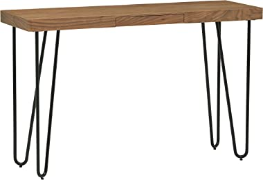 "Amazon Brand – Rivet Hairpin Wood and Metal Tall 29.5"" Console Bar Table, Walnut and Black"
