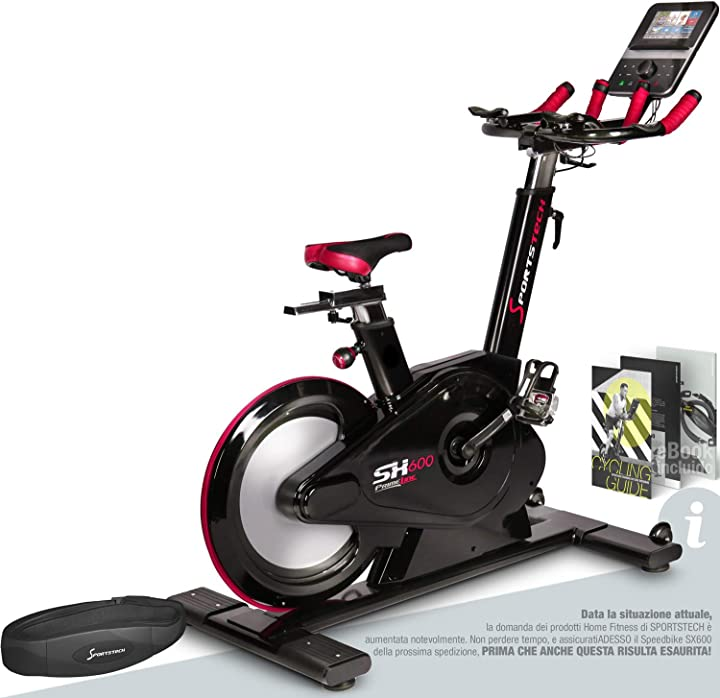 Spinbike professionale sportstech elite indoor bike cyclette venti video e multiplayer app,frenante magnetico sp_sx600_uk