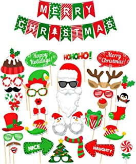 Photo Booth Props for Christmas Party and Banner Backdrop Kit Funny Decorations and Selfies for Adults and Kids for Holiday and Xmas Parties by Fast Purchasing