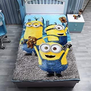 "FairyShe Kids Fleece Blanket Baby Plush Blanket Cartoon Soft Warm Fuzzy Blanket Plush Sheet,60"" x 80"" Coral Velvet Blanket for Crib Bed Couch Chair Fall Winter Spring Living Room (Minions)"