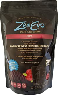 ZenEvo Dark Chocolate FIT - Dark Chocolate with Raspberry Ketone and Green Coffee Bean Extract - Weight Management/Antioxidant Boost (30 Ct)