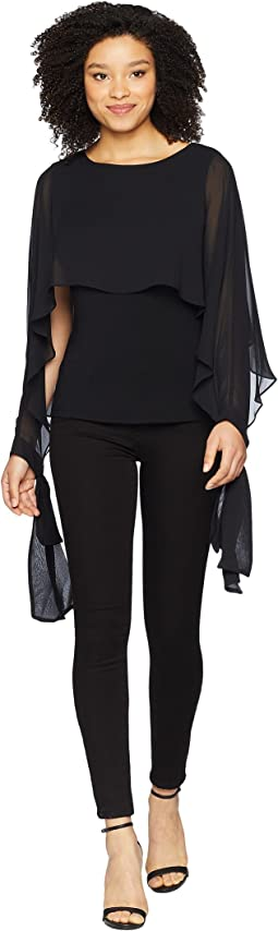 Vince Camuto Tie Cuff Chiffon Overlay Blouse