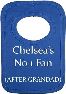 Babero personalizado de Stacey's Bibs con la frase «Chelsea - No 1 Fan After Grandad» (sin pegatinas) con hermoso bordado