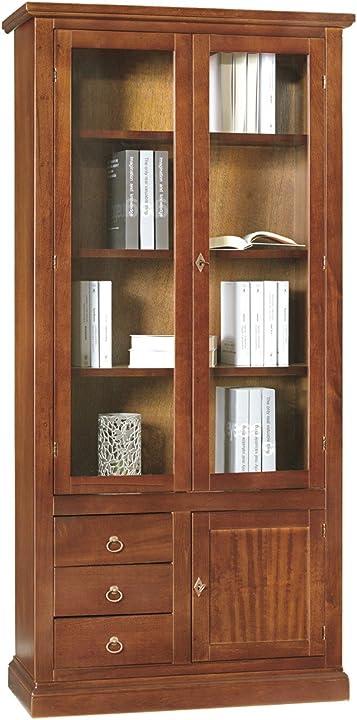 Libreria/vetrina arte povera 3 porte 3 cassetti tinta noce w388/n lo scrigno arredamenti