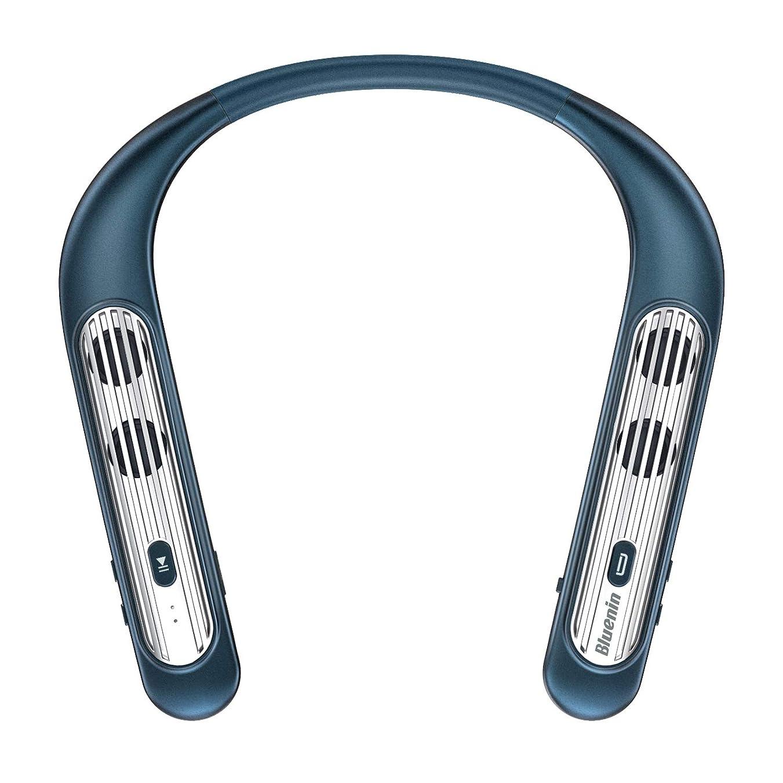レガシーイル一晩ネックスピーカー 首掛け 肩掛け ワイヤレスブルートゥーススピーカー Bluetooth5.0/CVC8.0ノイズキャンセリング/マイク内蔵/IPX4防水 ゲーム/会議/テレビ/スマホ/PC/車/運動/IOS/Android/Windowsに適用 ポータブルスピーカー(ネイビーブルー)