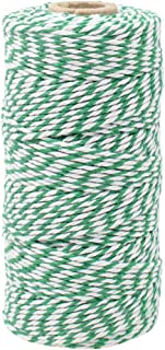 Just Artifacts ECO Bakers Twine 110-Yards 12Ply Striped Kelly Green - Decorative Bakers Twine for DIY Crafts and Gift Wrapping
