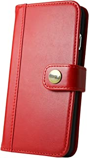 CIBOLA iPhone 5 iPhone 5s iPhone SE case Genuine Leather Durable Wallet Flip Book Cover Design with Kickstand [ID Card Slot], NO Magnetic (Red, iPhone SE / 5s / 5)