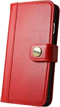 CIBOLA Xperia Z3 Compact Case, Genuine Leather Durable Wallet Flip Book Cover with Kickstand [ID Card Slot], NO Magnetic (Red, Xperia Z3 Compact)