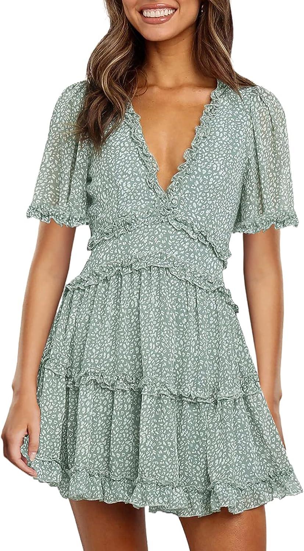 Happy Sailed Women Short Sleeve Ruffle Layer Backless Swing Mini Dress S-XL