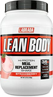 Labrada Nutrition Lean Body Hi-Protein Meal Replacement Shake, Strawberry, 2.47-Pound Tub